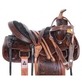 "14"" Pleasure Trail Hand Carved Antique Oil Western Horse Saddle Tack Set"