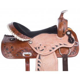 Black Inlay Gaited Barrel Trail Western Horse Saddle 14