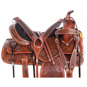 Pleasure Trail Western Leather Ranch Work Hand Carved Horse Saddle Tack
