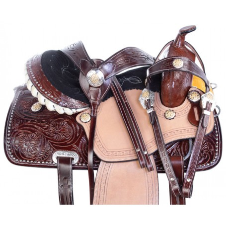 Silver Studded Western Show Pleasure Trail Leather Horse Saddle Tack