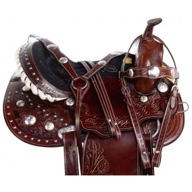 Silver Concho Western Show Barrel Racing Premium Leather Horse Saddle Tack