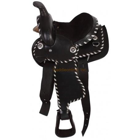 New Black 12 Buck Stitched Mini Horse Saddle