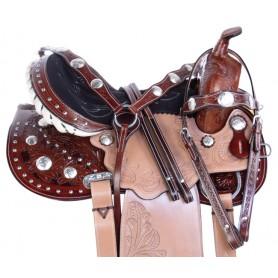 Beautiful Arabian Tooled Barrel Trail Horse Saddle 15 17