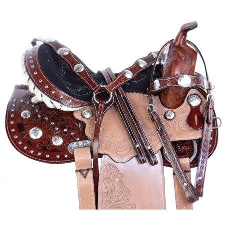 Beautiful Arabian Tooled Barrel Trail Horse Saddle 14 17
