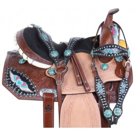 Crystal Flying Heart Western Barrel Racing Leather Horse Saddle Tack