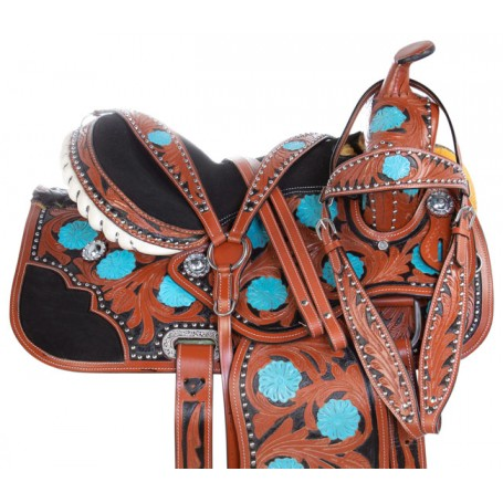 Turquoise Floral Tooled Western Leather Barrel Racing Show Horse Saddle Tack