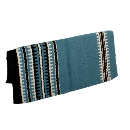 Blue White Black Thick 100 Wool Saddle Blanket  35X37
