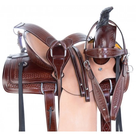 Youth Western Roping Hard Seat Ranch Work Leather Horse Saddle Tack Set