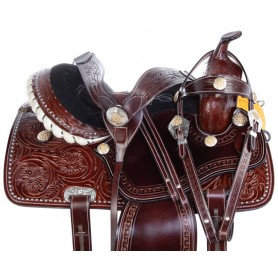 Yellow Crystal Silver Studded Western Barrel Trail Leather Horse Saddle Tack