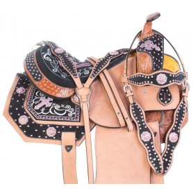 Pink Crystal Cross Western Barrel Racing Show Horse Saddle Tack Set