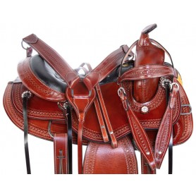 Western Equitation Pleasure Trail Leather Gaited Horse Saddle Tack