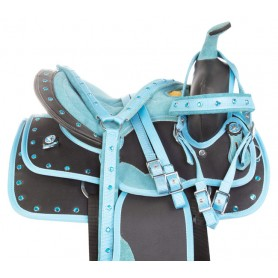 Blue Youth Kids Quarter Horse Crystal Western Synthetic Saddle Tack Set Pad
