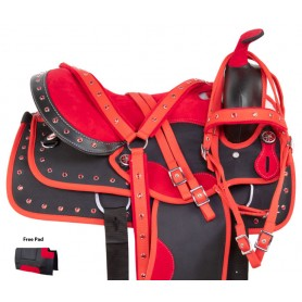 Red Crystal Western Synthetic Barrel Racer Trail Horse Saddle Tack Set