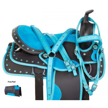 Blue Barrel Racer Western Synthetic Pleasure Trail Show Horse Saddle Tack Pad