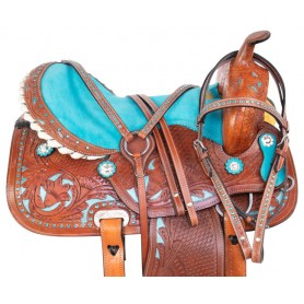 Blue Cowgirl Western Barrel Racing Pleasure Trail Leather Horse Saddle Tack