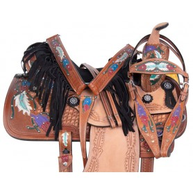 Navajo Feathers Western Barrel Racing Tooled Leather Trail Horse Saddle Tack