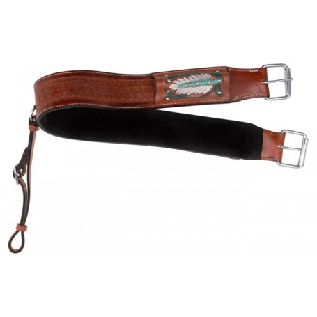 Navaho Feathers Design Premium Tooled Western Leather Back Cinch Bucking Strap