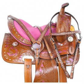 Pink Youth Kids Western Bling Show Horse Saddle Tack 13
