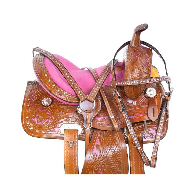 PINK 12 13 YOUTH KIDS WESTERN PONY PLEASURE TRAIL SHOW HORSE SADDLE TACK SET