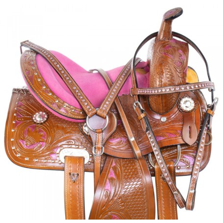 Pink Youth Kids Western Bling Show Horse Saddle Tack 12 13