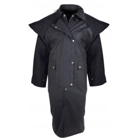 Western Full Length Australian Black Oilskin Duster Coat