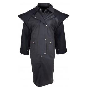 Western Full Length Australian Black Oilskin Duster Coat
