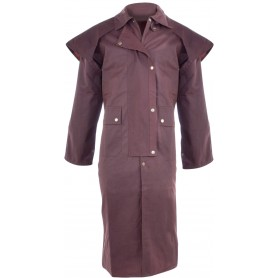 Full Length Men Brown Australian Oilskin Duster Coat