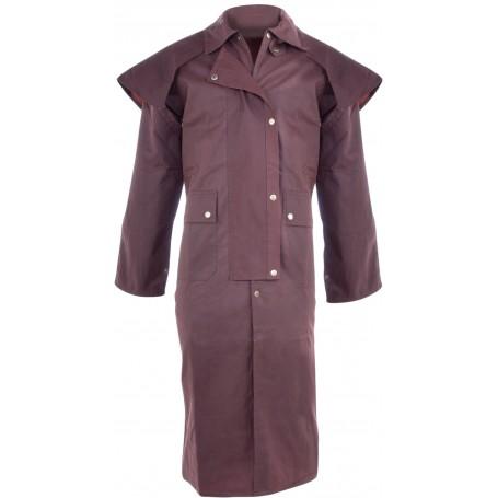 Full Length Men Brown Australian Oilskin Duster Coat