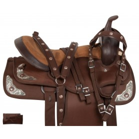 Synthetic Brown Silver Trail Show Horse Saddle Tack 15 18