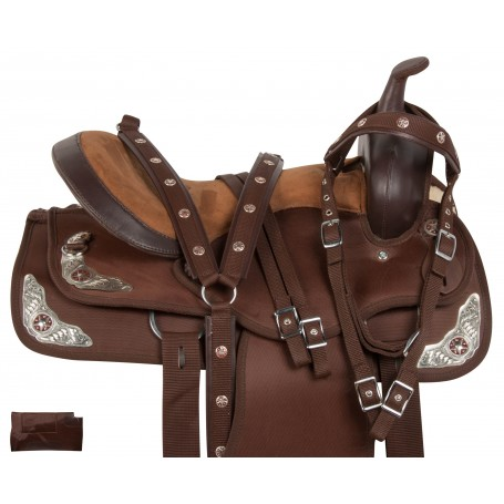 Synthetic Brown Silver Trail Show Horse Saddle Tack 14 18
