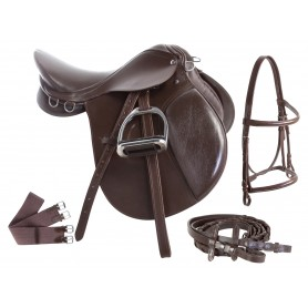English Starter All Purpose Saddle Set 16 17 18 Brown
