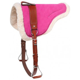 Pink Suede Leather Bareback Saddle Pad With Stirrups