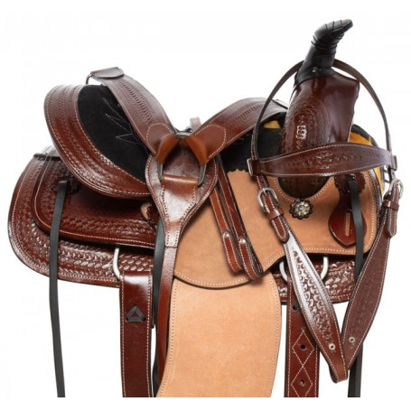 Children Western Tooled Leather Roping Ranch Rough Out Youth Horse Saddle Tack