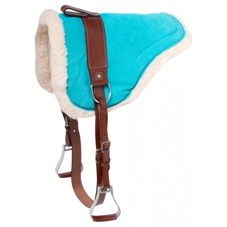 Turquoise Suede Leather Bareback Horse Saddle Pad With Stirrups