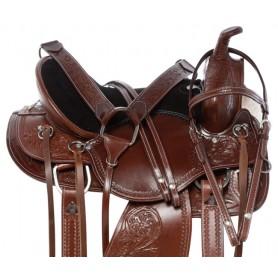 Classic Premium Tooled Western Pleasure Trail Leather Horse Saddle Tack Set