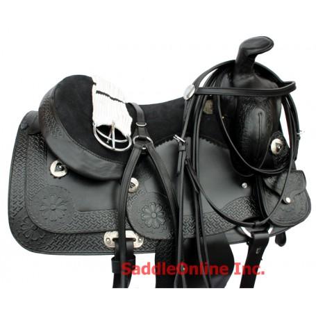 Black Tooled Western Saddle W Tack Girth Case