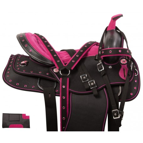 Pink Crystal Western Synthetic Show Horse Saddle Tack 14 18