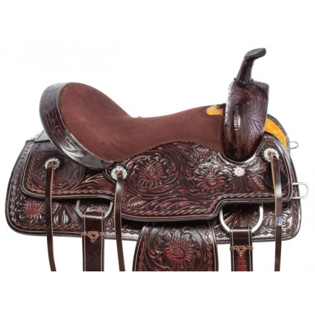Black Brown Inlay Western Barrel Racer Pleasure Trail Leather Horse Saddle Tack