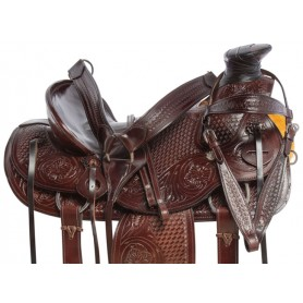 Dark Oil Wade Tree Roping Hard Seat Western Leather Ranching Horse Saddle Tack