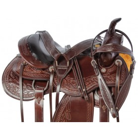 Comfy Western Pleasure Trail Hand Carved Premium Leather Horse Saddle Tack