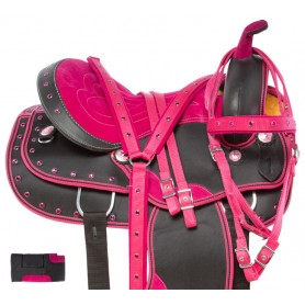 Pink Crystal Western Synthetic Light Weight Cordura Horse Saddle Tack
