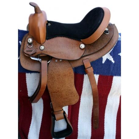 Tan Tooled Leather Seat 16 Western Saddle