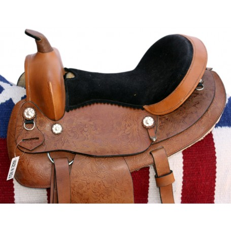 15 Tan Western Pleasure Trail Saddle W Rough Out Seat