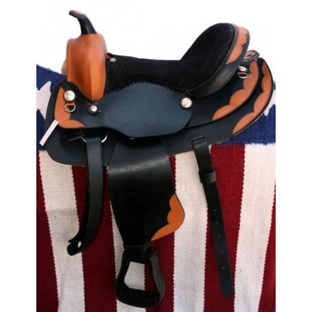 Two Tone Black Tan Western Pleasure Trail Saddle