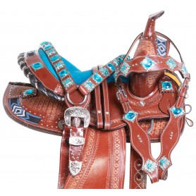 Blue Diamond Show Youth Kids Seat Western Horse Saddle Tack Set