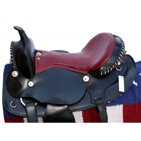 15 Black Leather Saddle W Slick Leather Seat