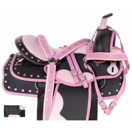 Pink Cordura Western Synthetic Show Trail Horse Saddle Tack