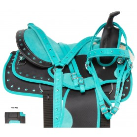 Teal Crystal Western Synthetic Barrel Racer Show Horse Saddle Tack Set
