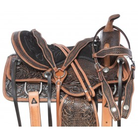 Classic Western Antique Leather Hand Tooled Pleasure Trail Horse Saddle Tack Set
