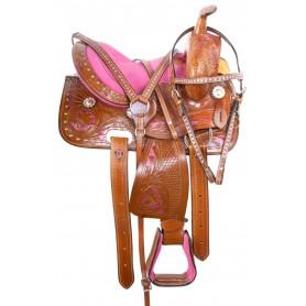 "Pink Western Miniature Barrel Show Pony Saddle Tack 10"""